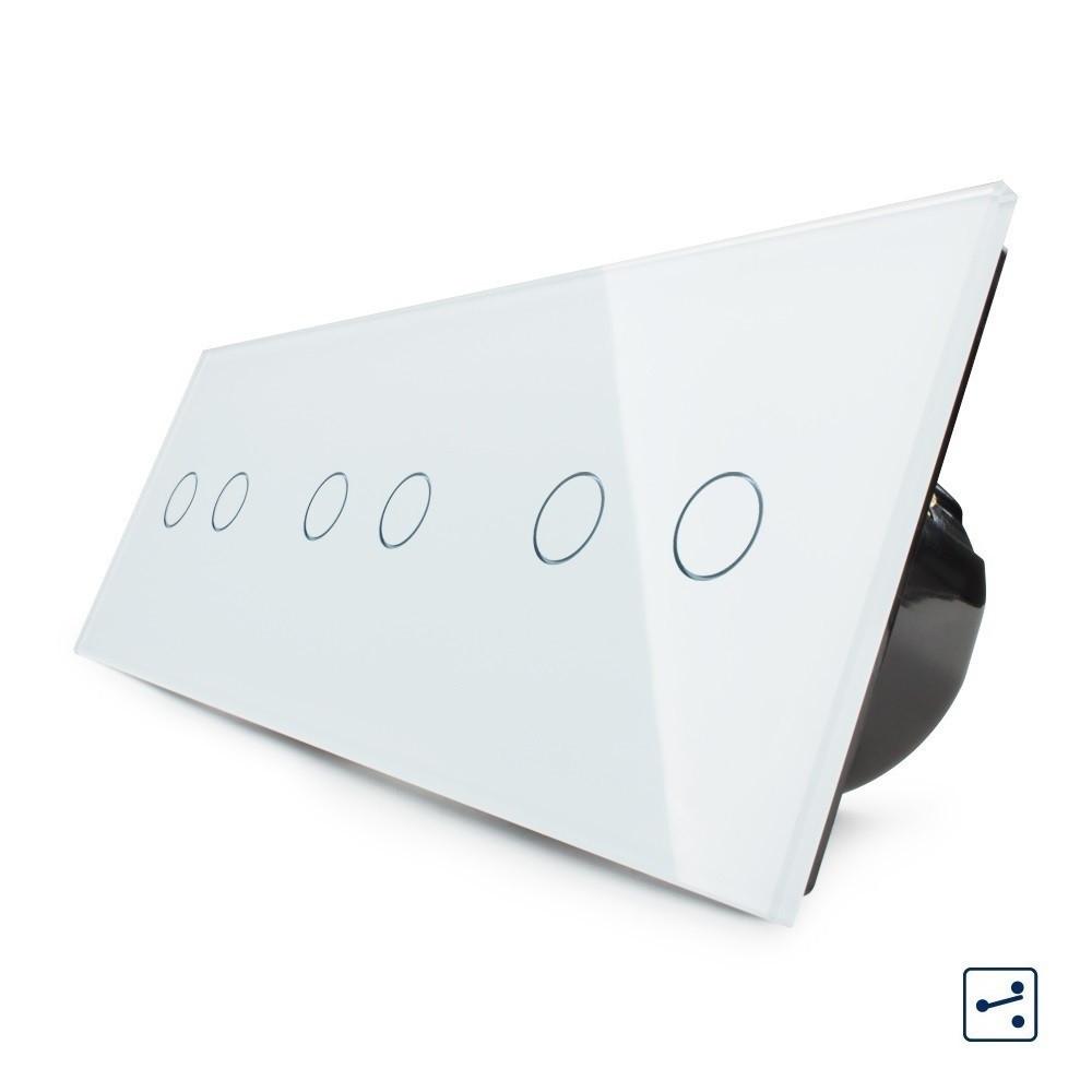 Сенсорный проходной выключатель Livolo на 6 каналов 2+2+2, цвет белый, стекло (VL-C706S-11)