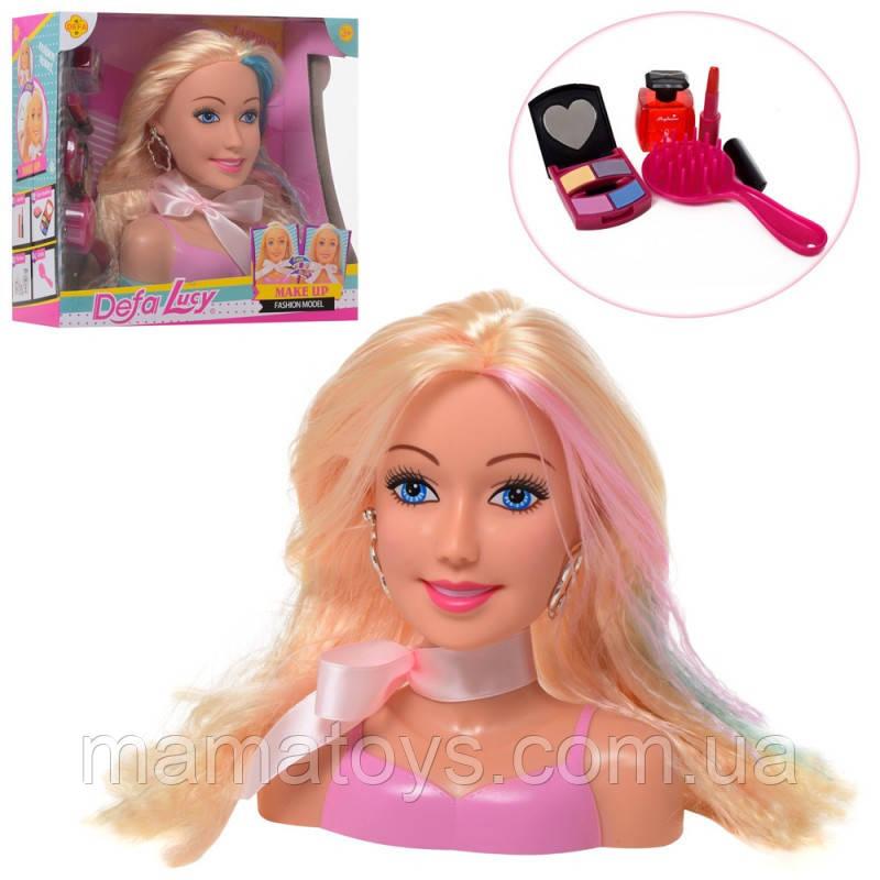Кукла DEFA 8401Манекен голова для причесок и макияжа,17 см, расческа, косметика,2 цв,