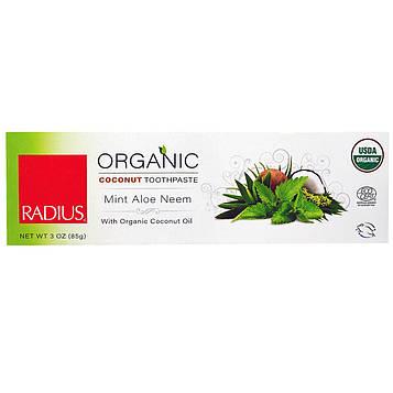 RADIUS, Органическая кокосовая зубная паста, проверенная Министерством сельского хозяйства США, мята, алоэ, ним, 3 унции (85 г)