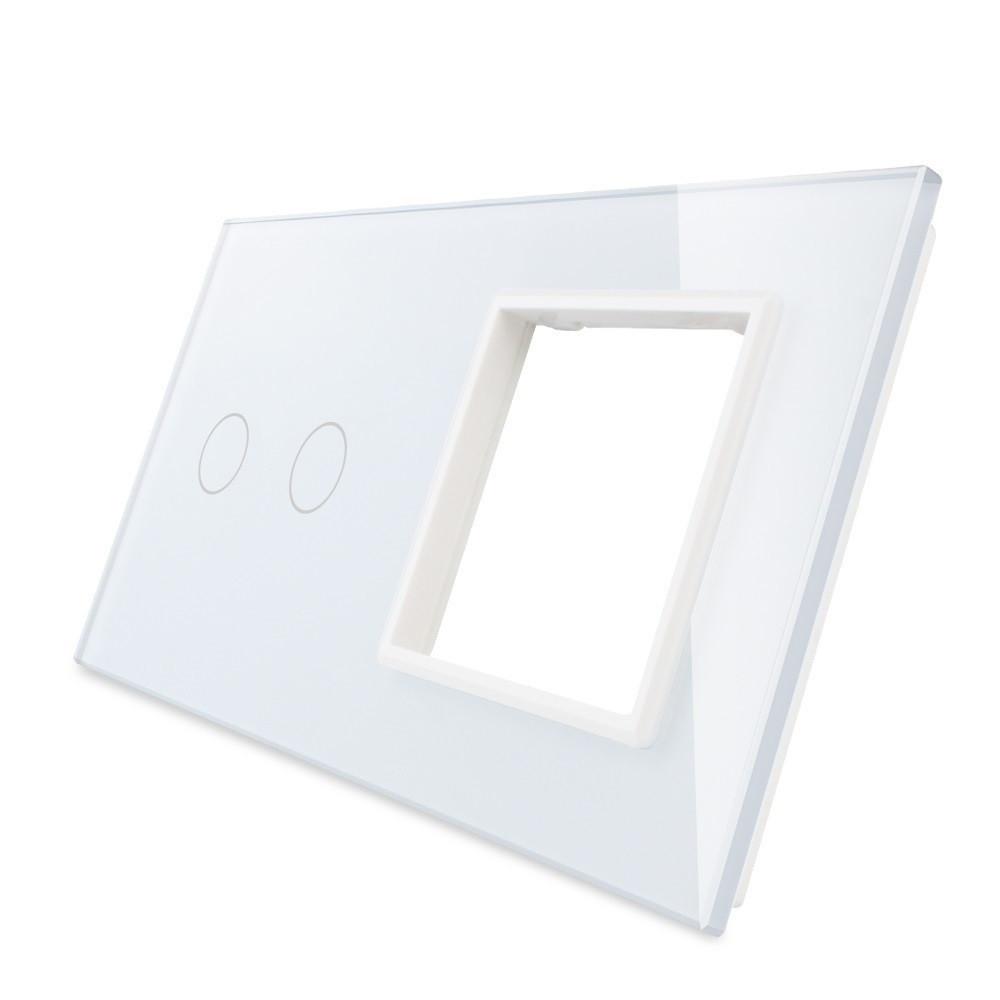 Лицевая панель для сенсорного выключателя Livolo 2 канала и розетки, цвет белый, стекло (VL-C7-C2/SR-11)
