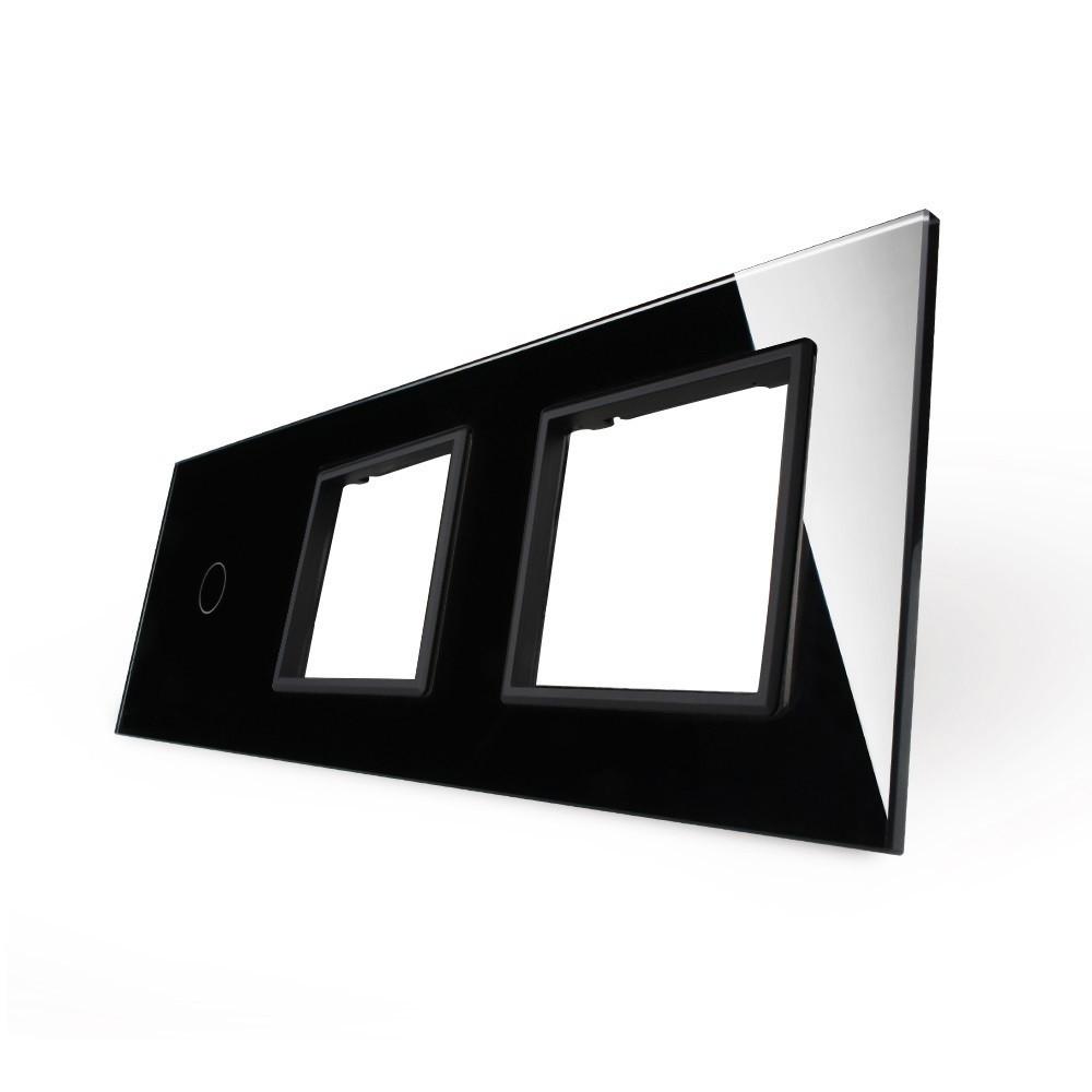 Лицевая панель для сенсорного выключателя Livolo 1 канал и 2х розеток, цвет черный, стекло (VL-C7-C1/SR/SR-12)