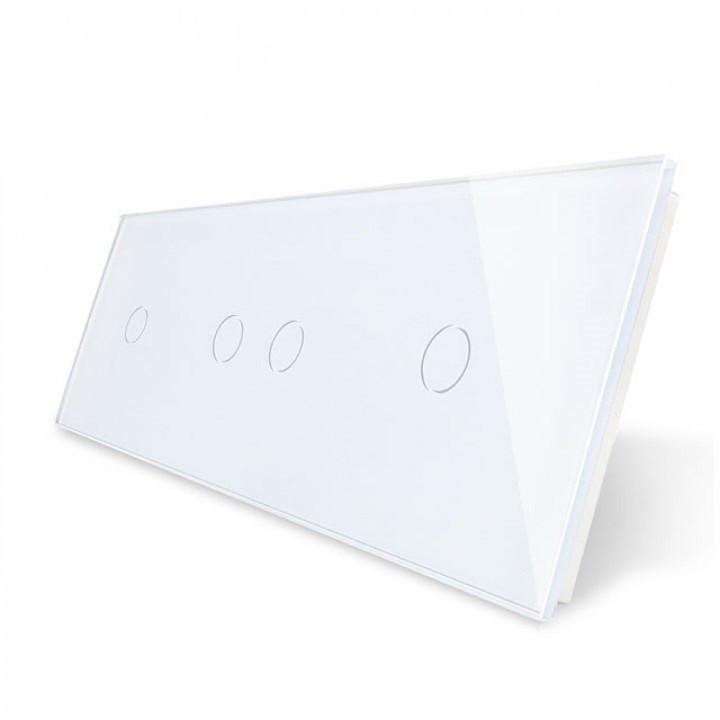 Лицевая панель для сенсорного выключателя Livolo 4 канала (1+2+1) | цвет белый (VL-C7-C1/C2/C1-11)