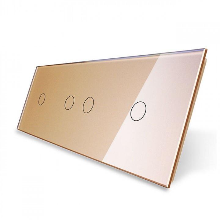 Лицевая панель для сенсорного выключателя Livolo 4 канала (1+2+1) золотая (VL-C7-C1/C2/C1-13)