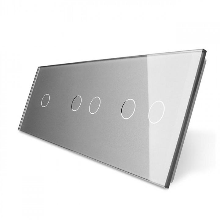 Лицевая панель для сенсорного выключателя Livolo 5 каналов (1+2+2) | цвет серый (VL-C7-C1/C2/C2-15)