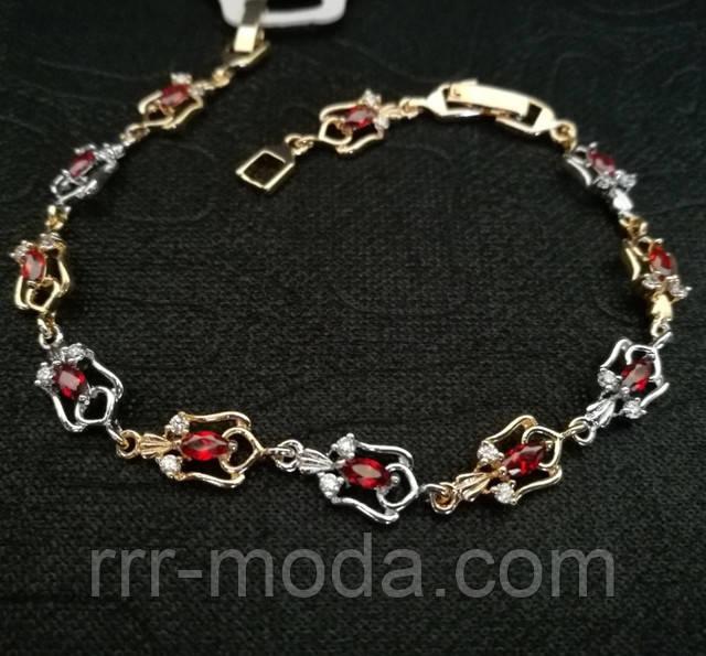 Позолоченные браслеты с красными цирконами оптом, фото.