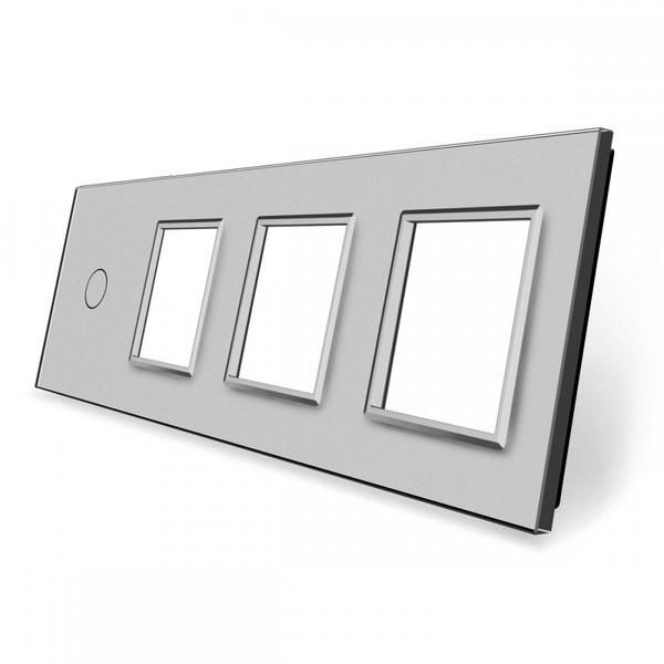 Лицевая панель для сенсорного выключателя Livolo 1 канал и 3х розеток, цвет серый (VL-C7-C1/SR/SR/SR-15)