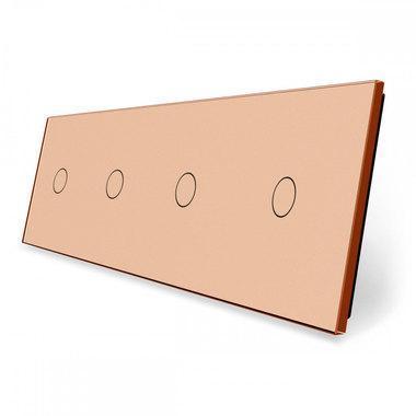Лицевая панель для сенсорного выключателя Livolo 4 канала, цвет золото, стекло (VL-C7-C1/C1/C1/C1-13)