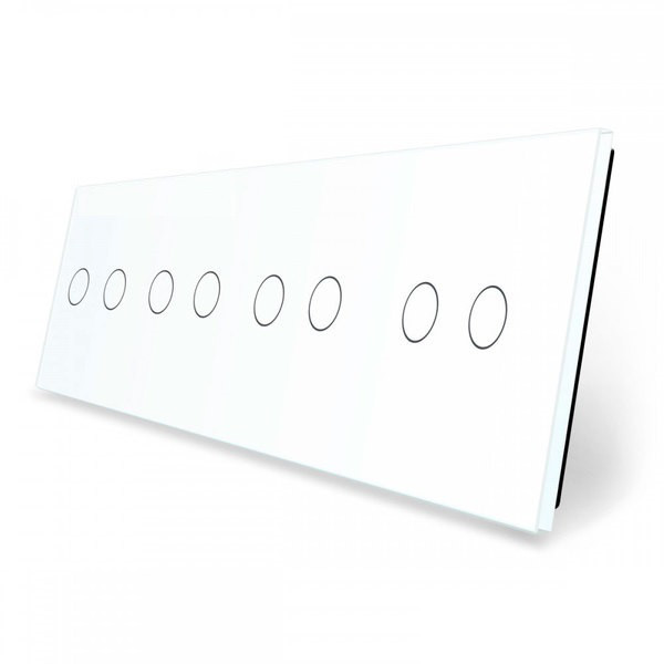 Лицевая панель для сенсорного выключателя Livolo 8 каналов | цвет белый (VL-C7-C2/C2/C2/C2-11)
