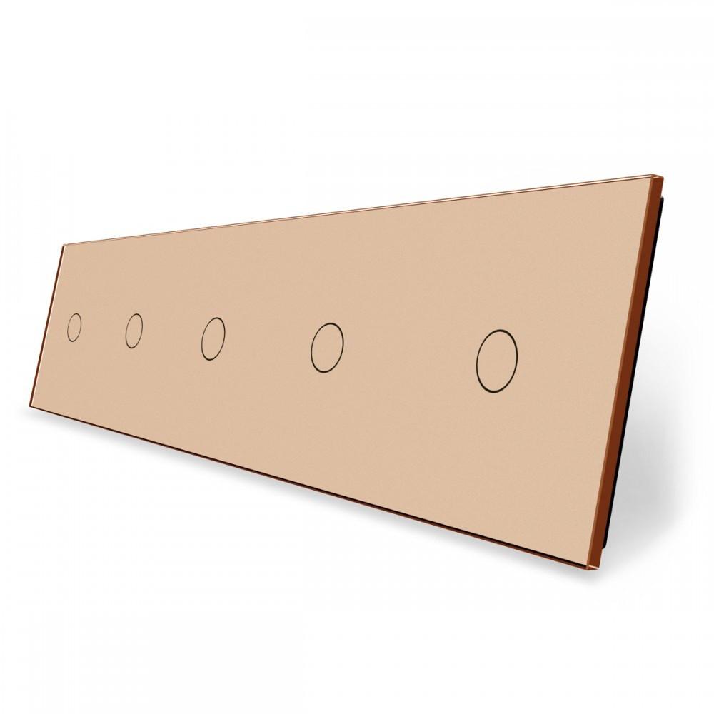 Лицевая панель для сенсорного выключателя Livolo 5 каналов, цвет золото, стекло (VL-C7-C1/C1/C1/C1/C1-13)