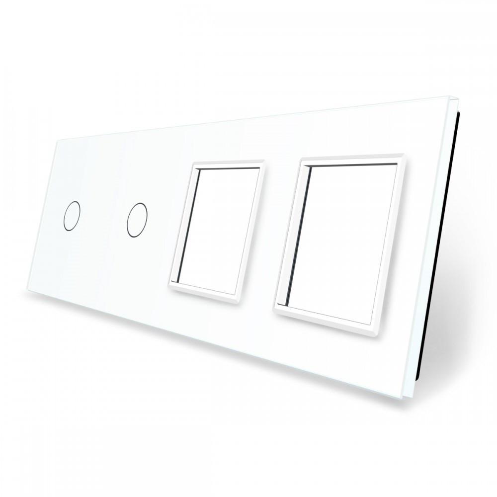 Лицевая панель для двух сенсорных выключателей и розеток Livolo, цвет белый, стекло (VL-C7-C1/C1/SR/SR-11)
