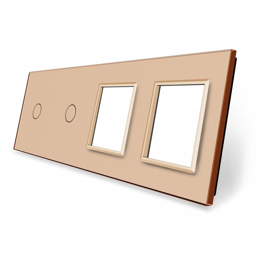 Лицевая панель для двух сенсорных выключателей и розеток Livolo, цвет золото, стекло (VL-C7-C1/C1/SR/SR-13)