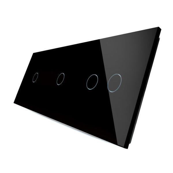 Лицевая панель для сенсорного выключателя Livolo 4 канала, цвет черный, материал стекло (VL-C7-C1/C1/C2-12)