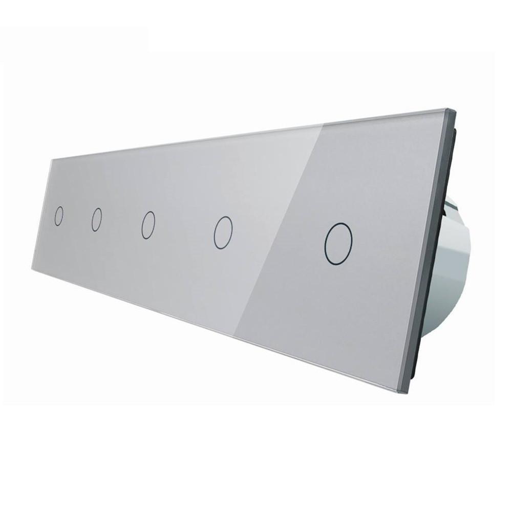 Сенсорный выключатель Livolo 1+1+1+1+1, цвет серый, стекло (VL-C705-15)