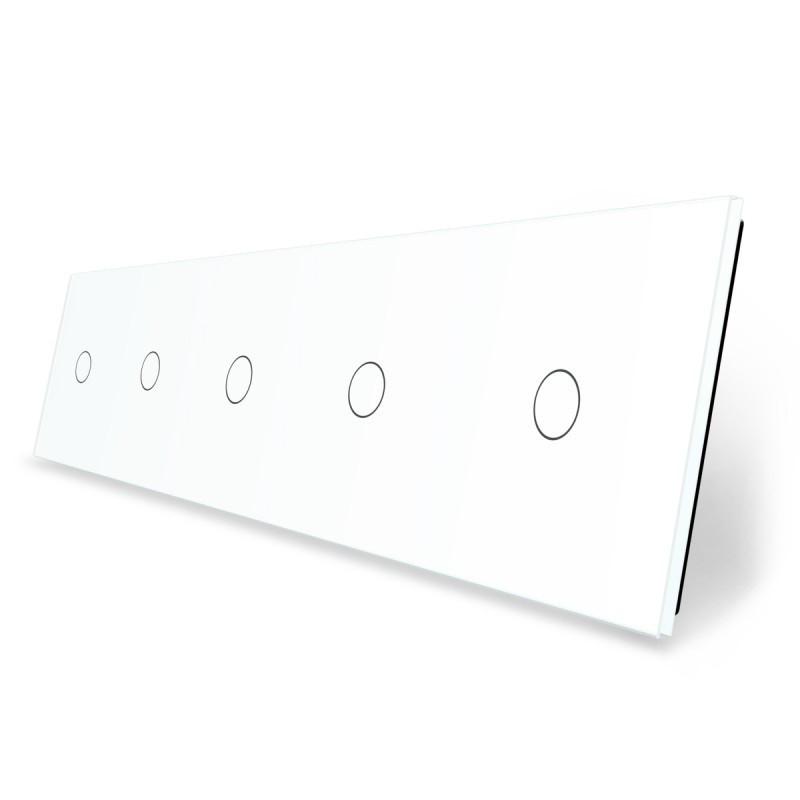 Лицевая панель для сенсорного выключателя Livolo 5 каналов, цвет белый, стекло (VL-C7-C1/C1/C1/C1/C1-11)