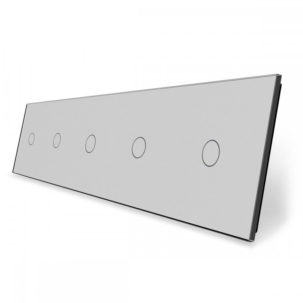 Лицевая панель для сенсорного выключателя Livolo 5 каналов, цвет серый, стекло (VL-C7-C1/C1/C1/C1/C1-15)