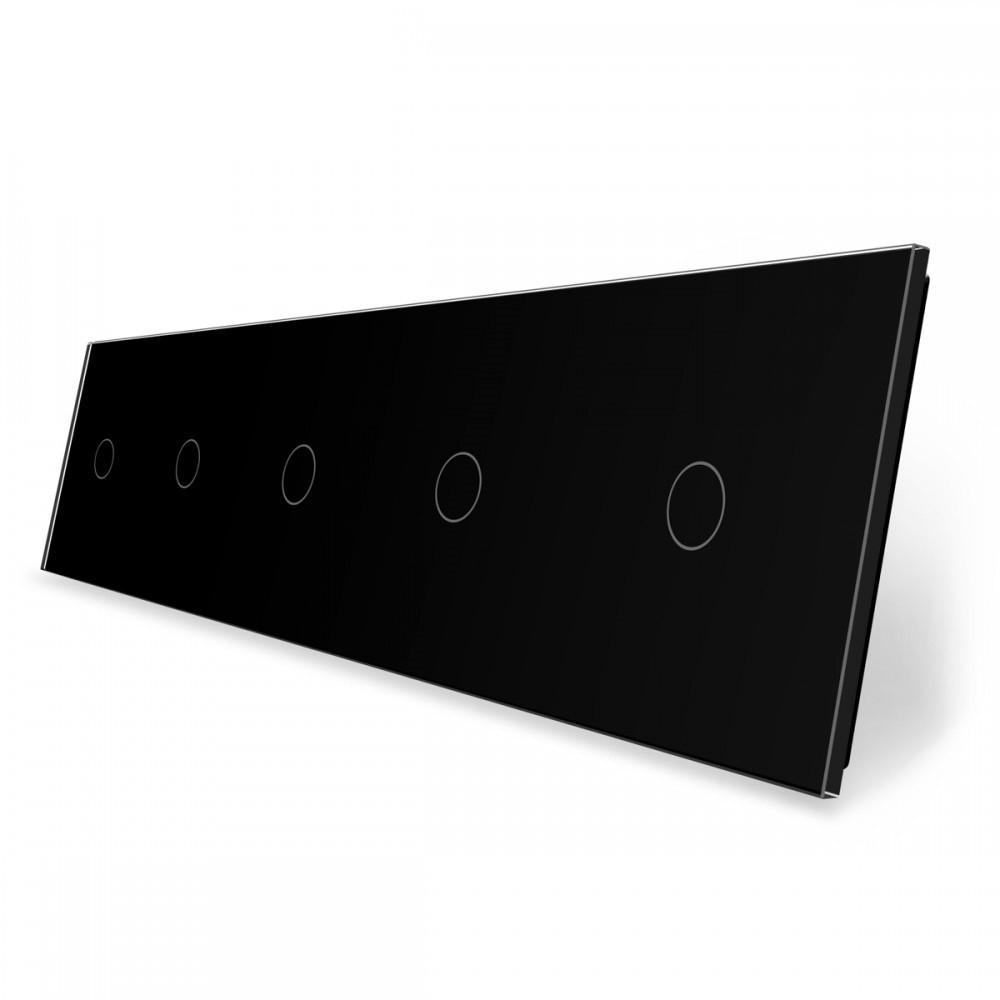 Лицевая панель для сенсорного выключателя Livolo 5 каналов, цвет черный, стекло (VL-C7-C1/C1/C1/C1/C1-12)
