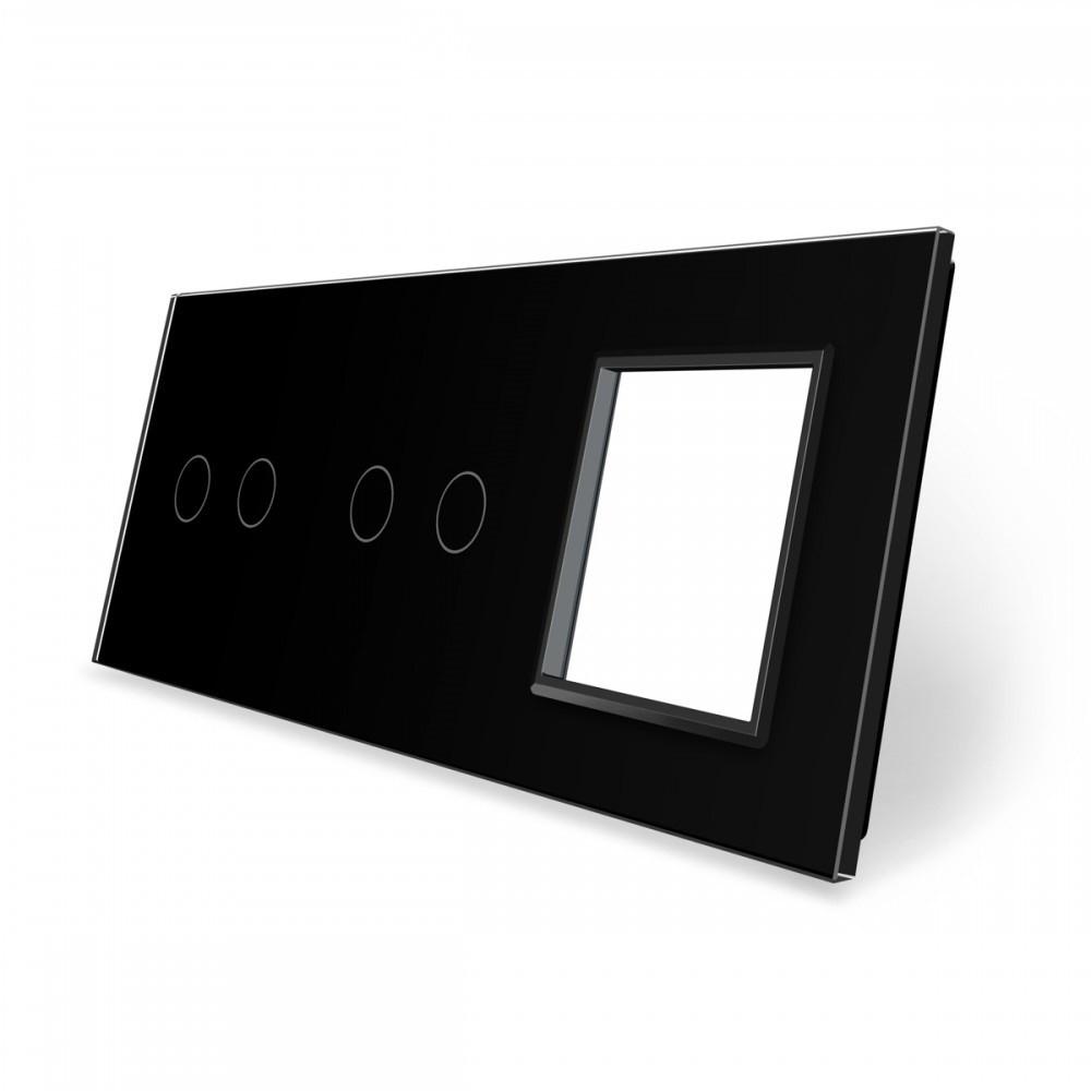 Лицевая панель для двух сенсорных выключателей и розеток Livolo, черный, стекло (VL-C7-C2/C2/SR-12)