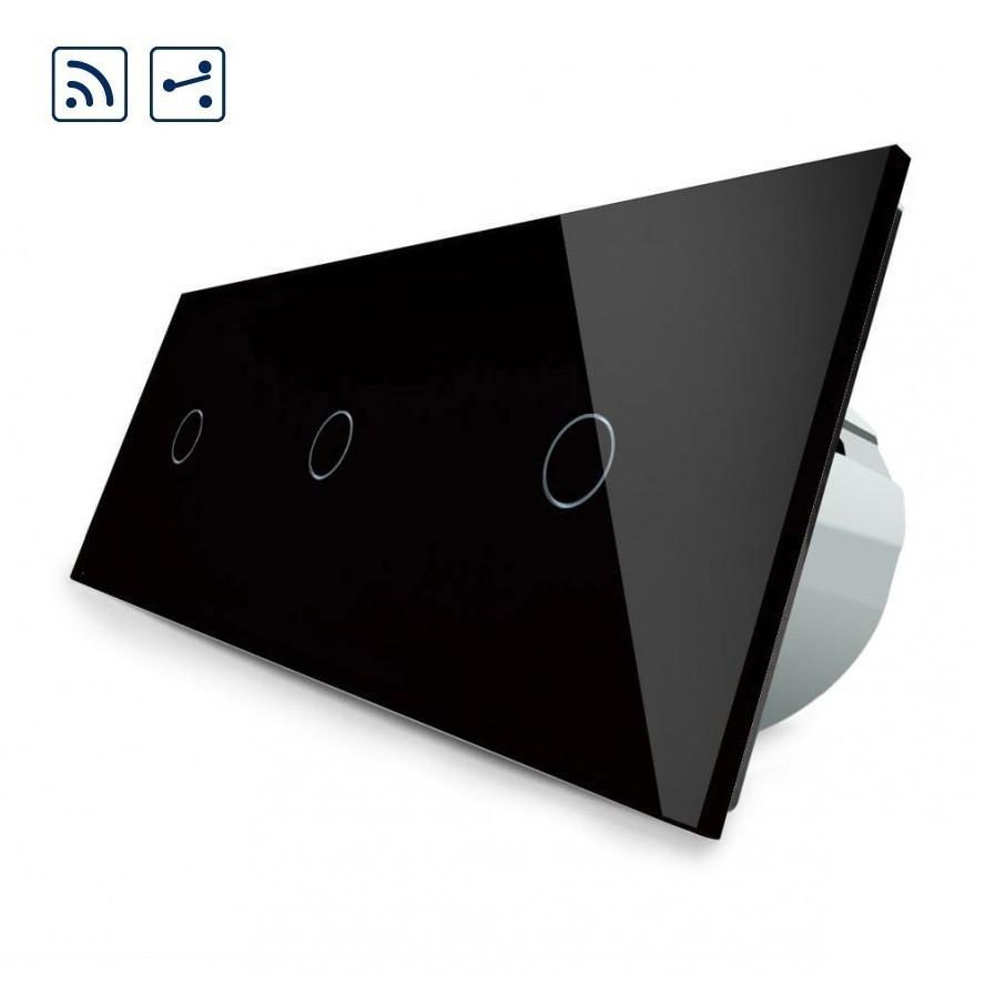 Сенсорный проходной выключатель Livolo 1-1-1 с дистанционным управлением, цвет черный (VL-C703SR-12)
