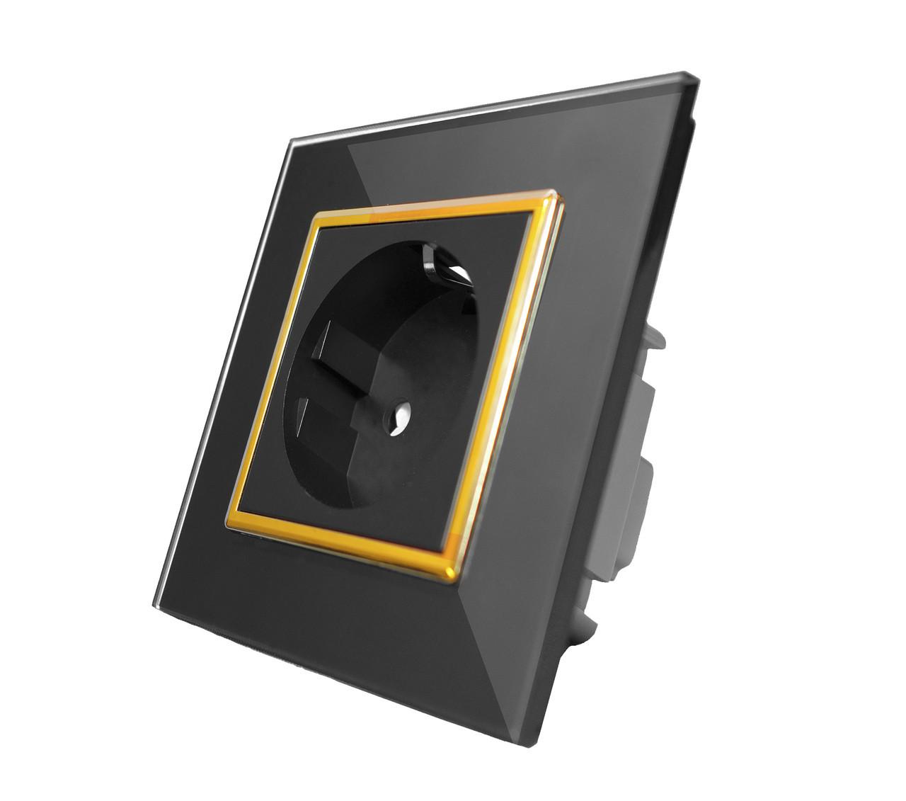 Розетка с заземлением Livolo, цвет черный, золотая вставка, материал стекло (VL-C7C1EU-12G)