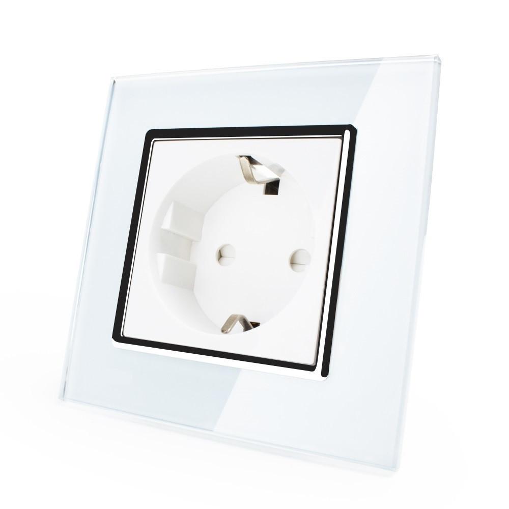 Розетка с заземлением Livolo, цвет белый хром, материал стекло (VL-C7C1EU-11C)