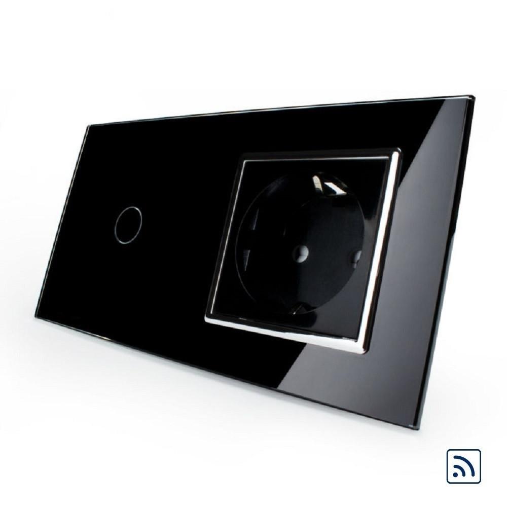 Сенсорный радиоуправляемый выключатель Livolo с розеткой черный хром стекло (VL-C701R/C1EU-12C)