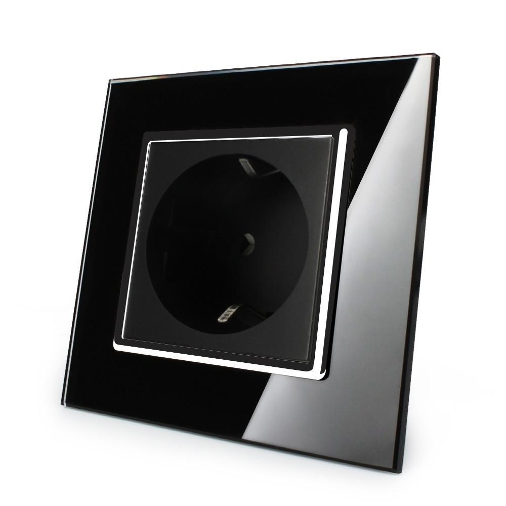 Розетка с заземлением Livolo черный хром стекло (VL-C7C1EU-12C)