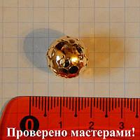 Металлические бусины, полые, ажурные, золотистого цвета 14 мм