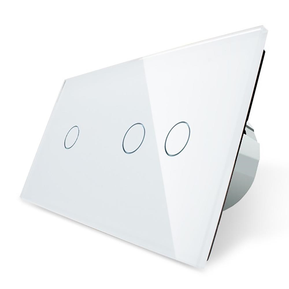 Сенсорный выключатель Livolo 1+2, цвет белый, стекло (VL-C701/C702-11)