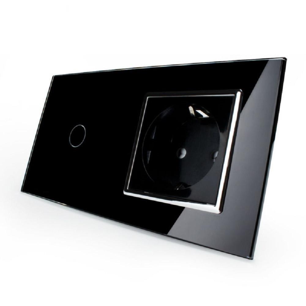 Сенсорный выключатель с розеткой Livolo, цвет черный, хром, стекло (VL-C701/C7C1EU-12C)