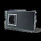 Сенсорный выключатель с розеткой Livolo, цвет черный, хром, стекло (VL-C701/C7C1EU-12C), фото 2