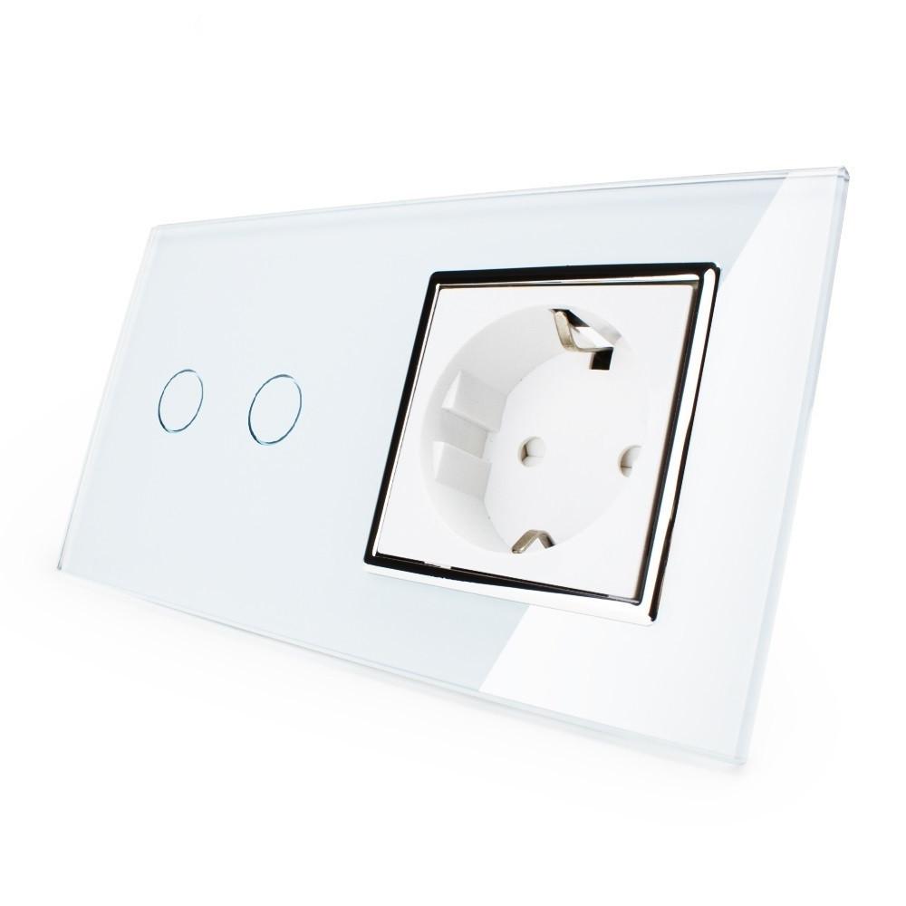 Сенсорный выключатель на 2 канала с розеткой Livolo, цвет белый, хром, стекло (VL-C702/C7C1EU-12C)