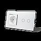 Сенсорный выключатель на 2 канала с розеткой Livolo, цвет белый, хром, стекло (VL-C702/C7C1EU-12C), фото 2