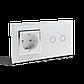 Сенсорный выключатель на 2 канала с розеткой Livolo, цвет белый, хром, стекло (VL-C702/C7C1EU-12C), фото 3