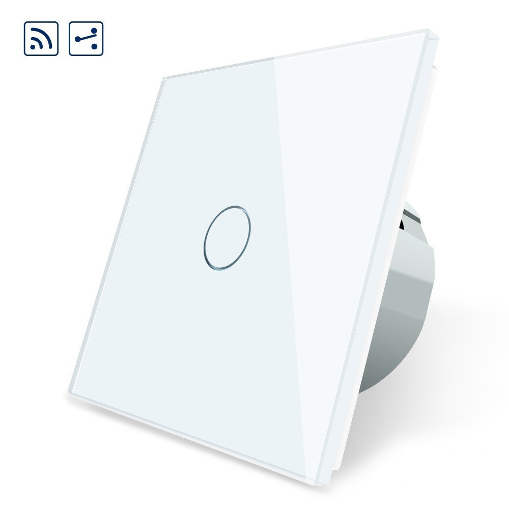 Сенсорный проходной выключатель Livolo с дистанционным управлением, цвет белый, стекло (VL-C701SR-11)