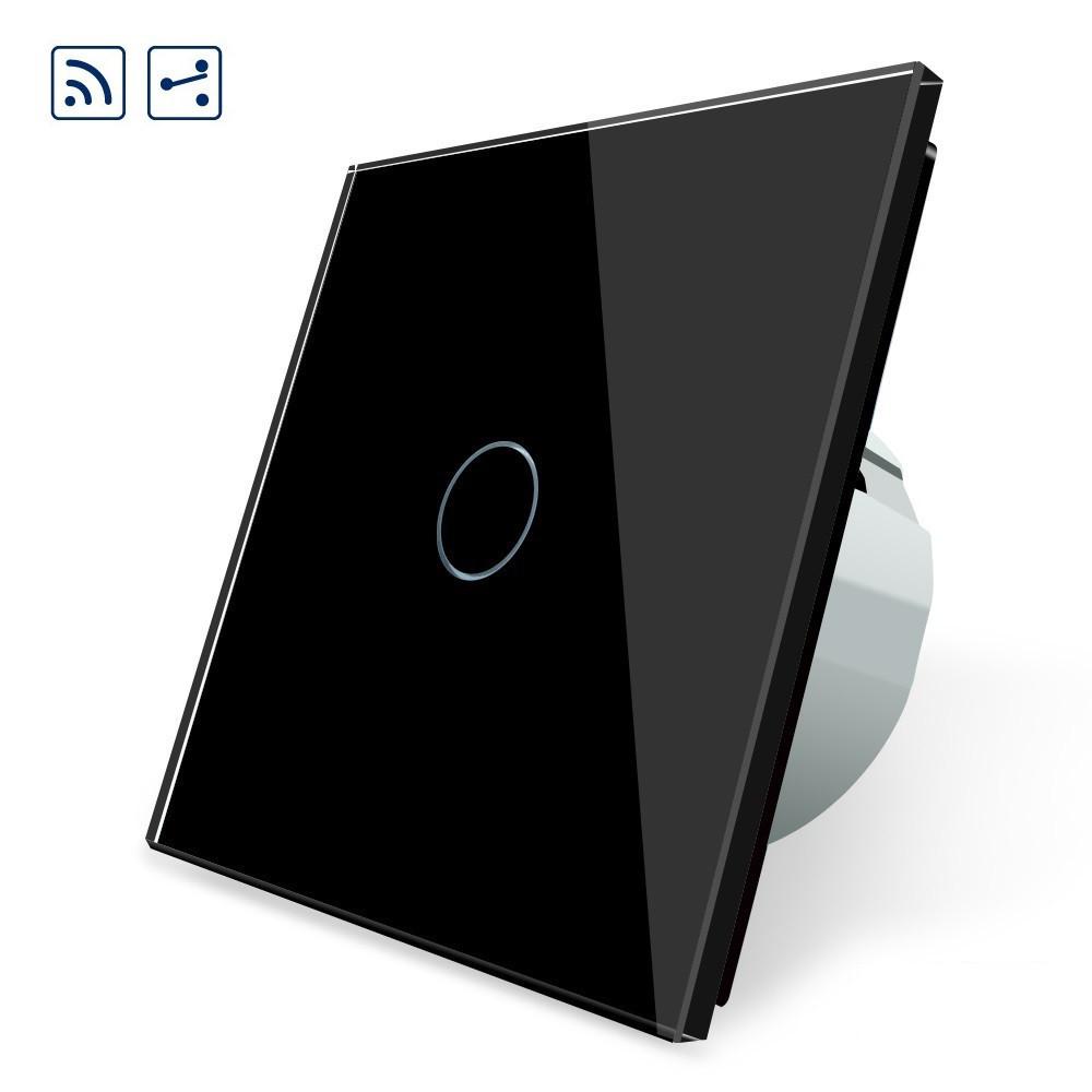 Сенсорный проходной выключатель Livolo с дистанционным управлением, цвет черный, стекло (VL-C701SR-12)