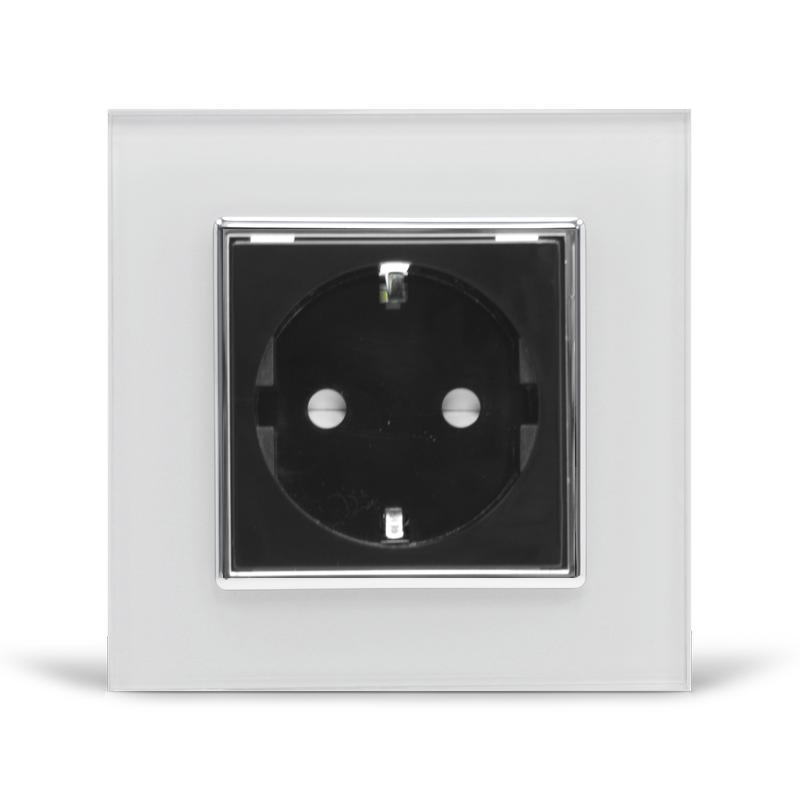 Розетка с заземлением Livolo, белая/черная, хром, стекло (VL-C7C1EU-11/12C)