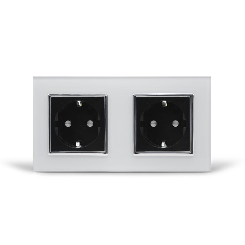 Розетка двойная с заземлением Livolo, белая/черная, хром, стекло (VL-C7C2EU-11/12C)