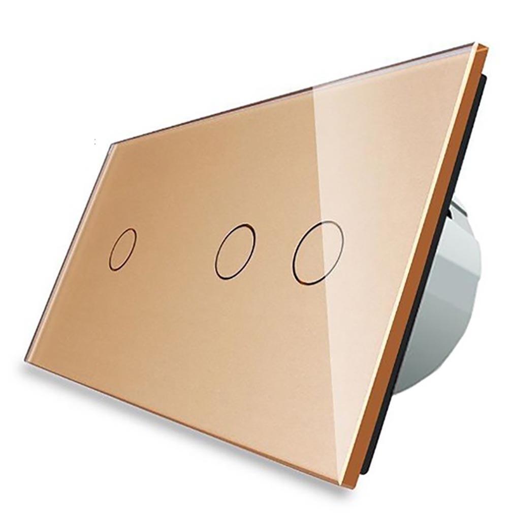 Сенсорный выключатель Livolo 1+2, цвет золото, стекло (VL-C701/C702-13)