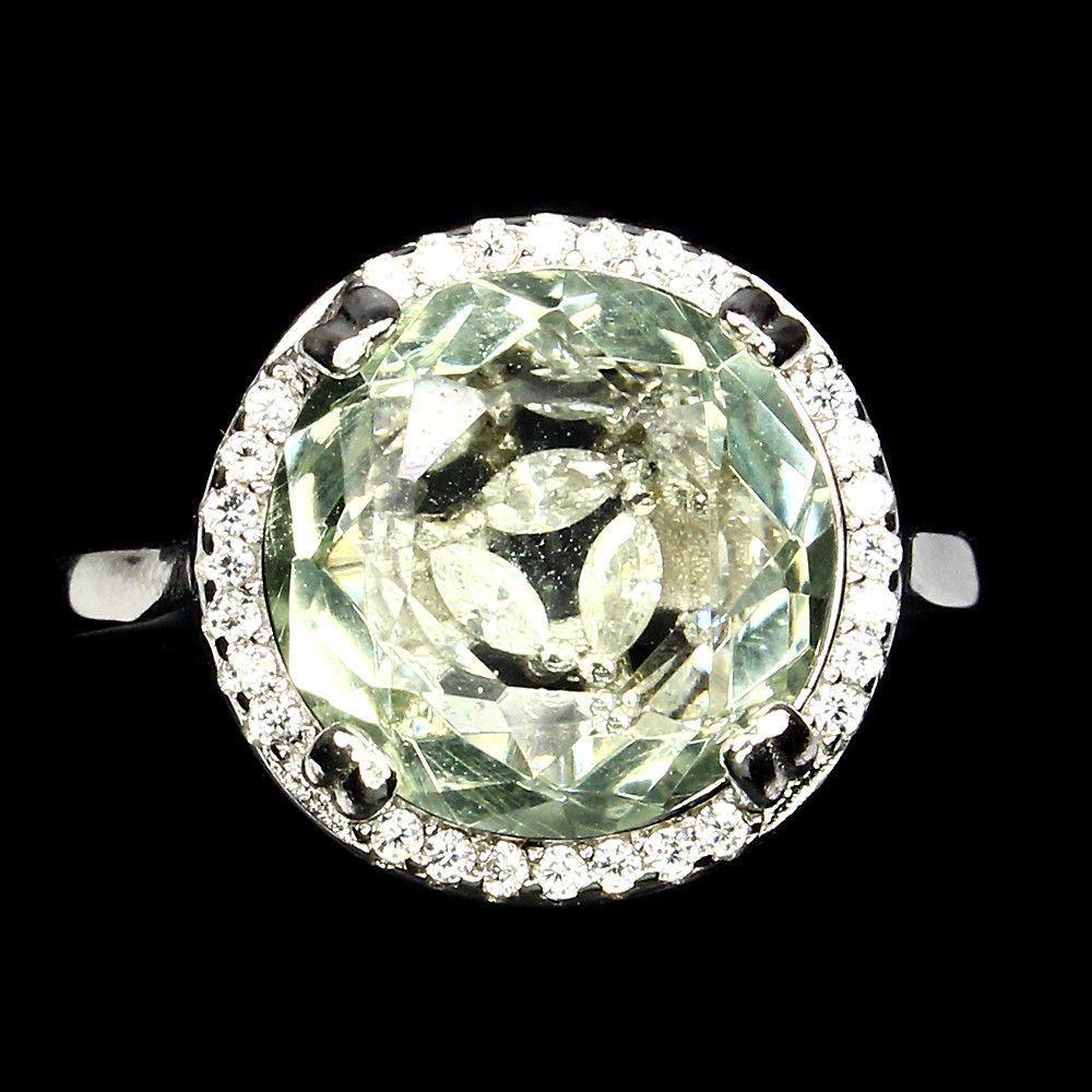 Кольцо с Зеленым Аметистом и фианитами