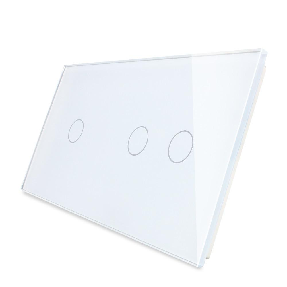 Лицевая панель для сенсорного выключателя Livolo 3 канала (1+2), цвет белый, стекло (VL-C7-C1/C2-11)