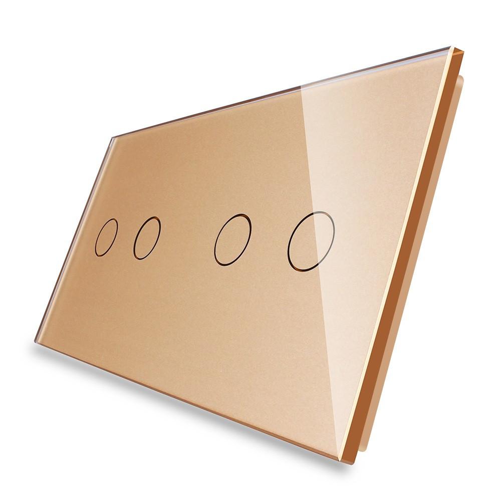 Лицевая панель для сенсорного выключателя Livolo 4 канала, цвет золото, стекло (VL-C7-C2/C2-13)