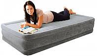 Односпальная надувная флокированная кровать Intex 67766 серая, со встроенным насосом 220V, 191х99х33 см, фото 1