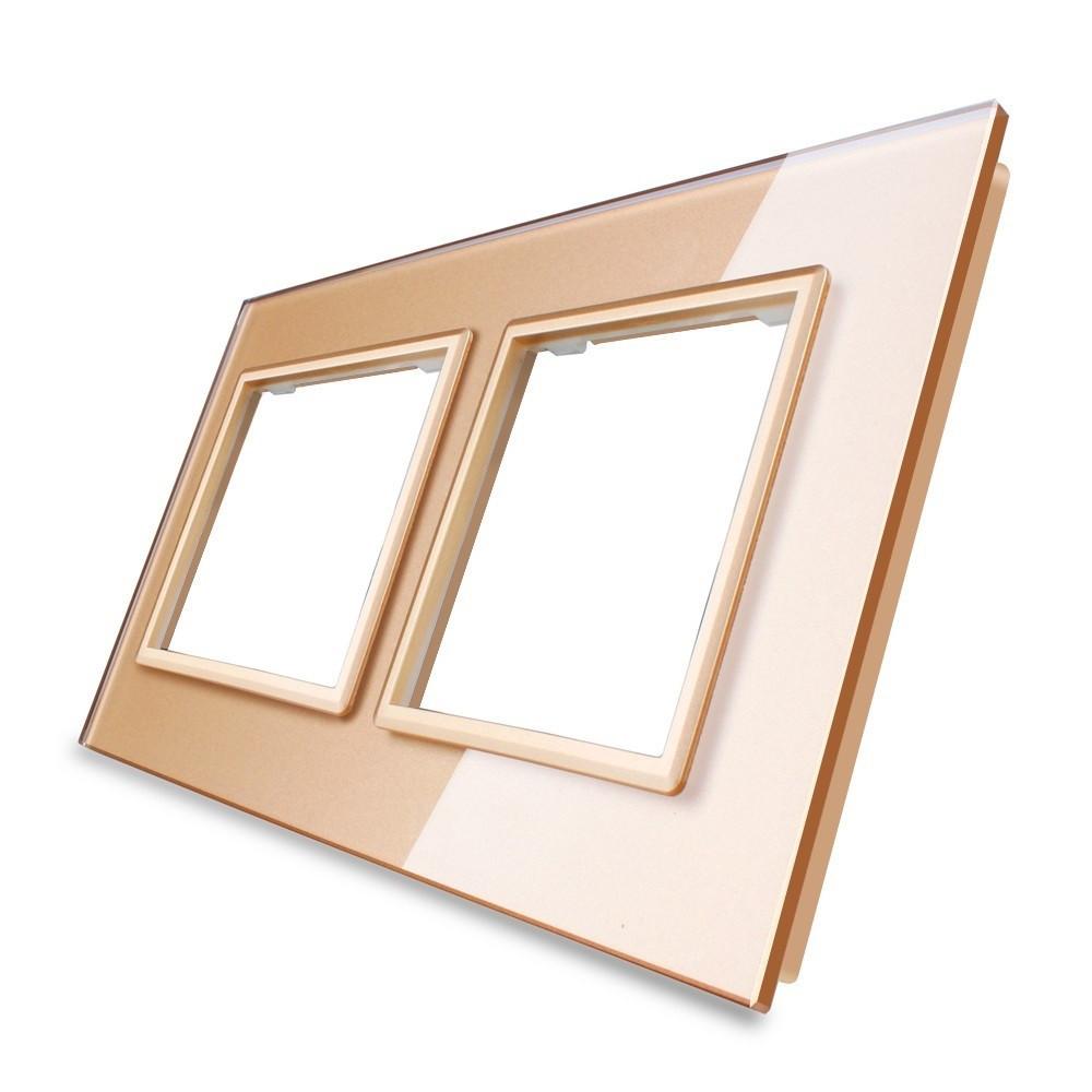 Рамка для розетки Livolo 2 поста, цвет золото, стекло (VL-C7-SR/SR-13)