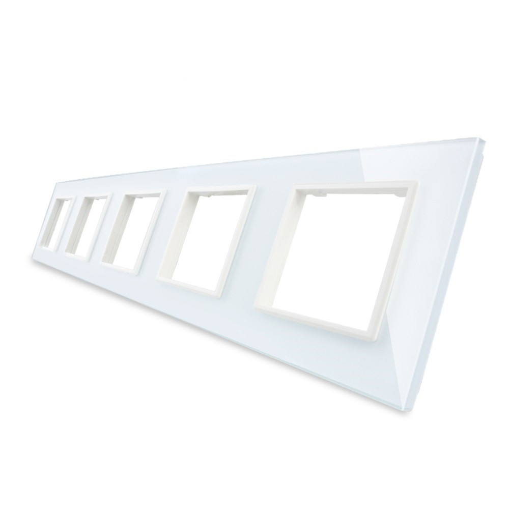 Рамка для розетки Livolo 5 постов, цвет белый, стекло (VL-C7-SR/SR/SR/SR/SR-11)