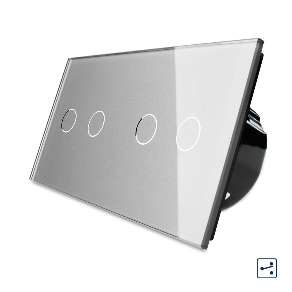 Сенсорный проходной выключатель Livolo на 4 канала 2+2, цвет серый, стекло (VL-C702S/C702S-15)