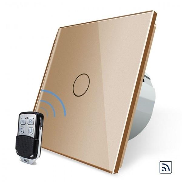 Сенсорный выключатель Livolo золотой + пульт дистанционного управления (VL-C701R-13/VL-RMT-02)