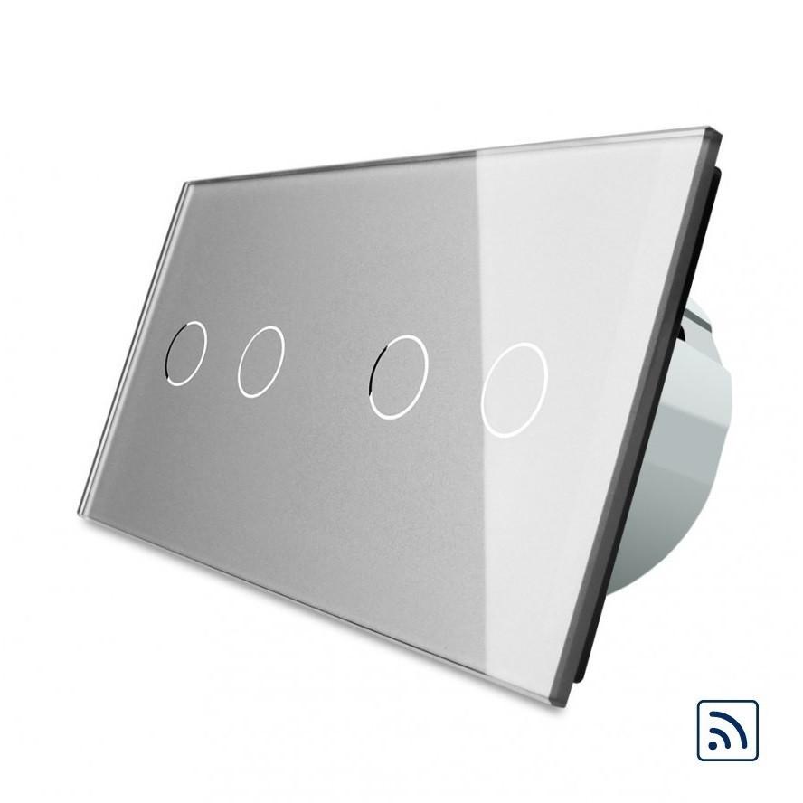 Четырехсенсорный выключатель Livolo 2+2 с функцией ДУ, серый, стекло (VL-C702R/C702R-15)