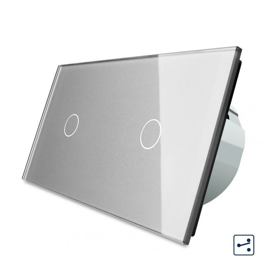 Сенсорный проходной выключатель Livolo на 2 канала 1+1, цвет серый, стекло (VL-C701S/C701S-15)