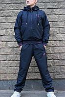 Зимний синий спортивный костюм Paul Shark плащевка на флисе с капюшоном (Реплика)