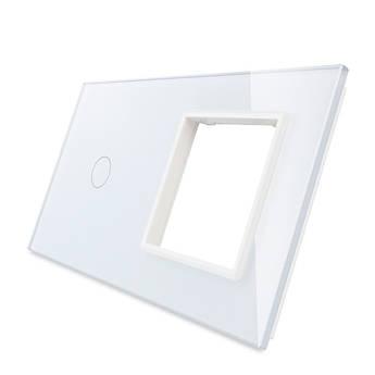 Лицевая панель для сенсорного выключателя Livolo 1 канал и розетки, цвет белый, стекло (VL-C7-C1/SR-11)
